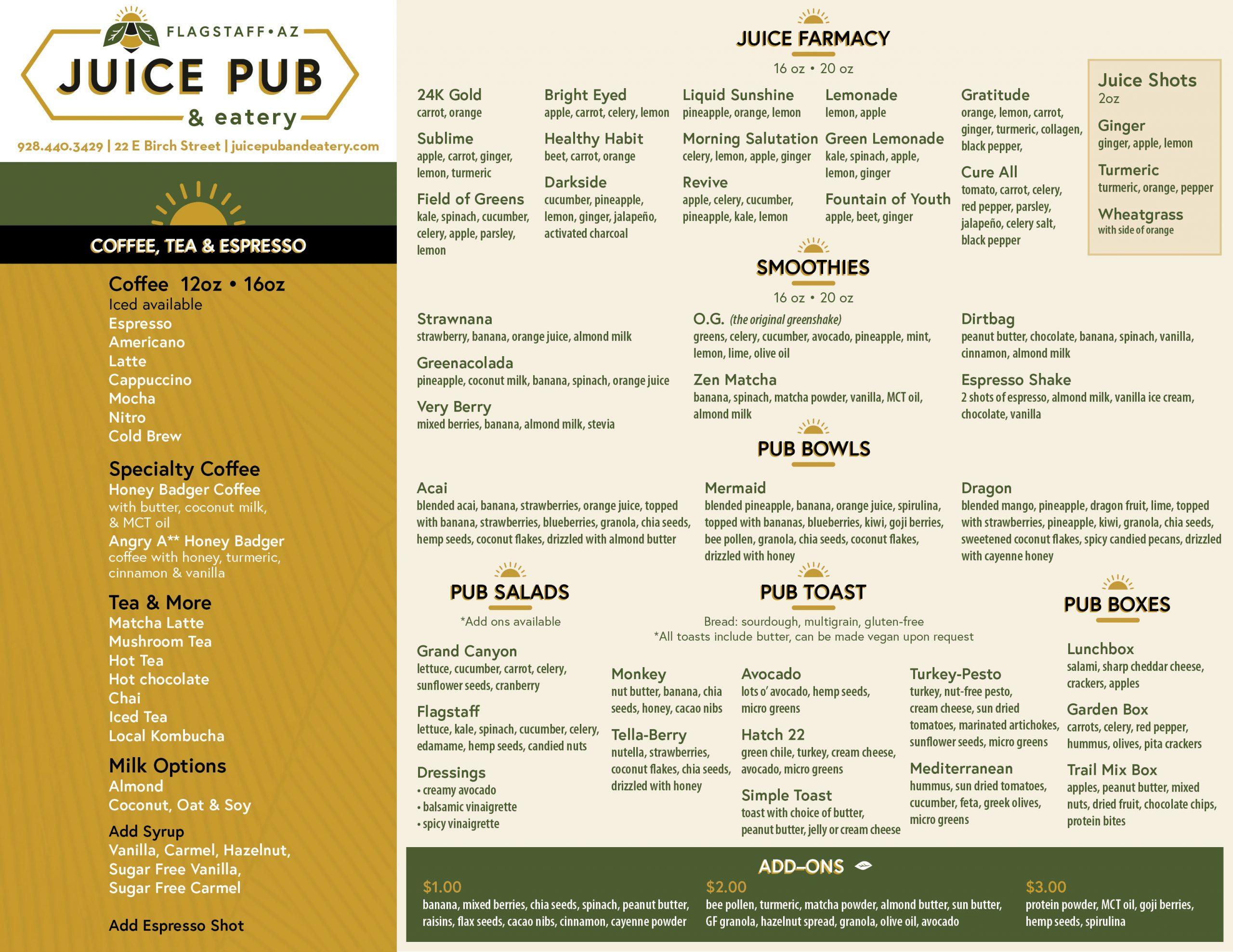 Juice Pub Menu Flagstaff